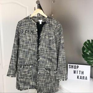 Chico's Grey Tweed Woven Wool Long Duster Coat 2